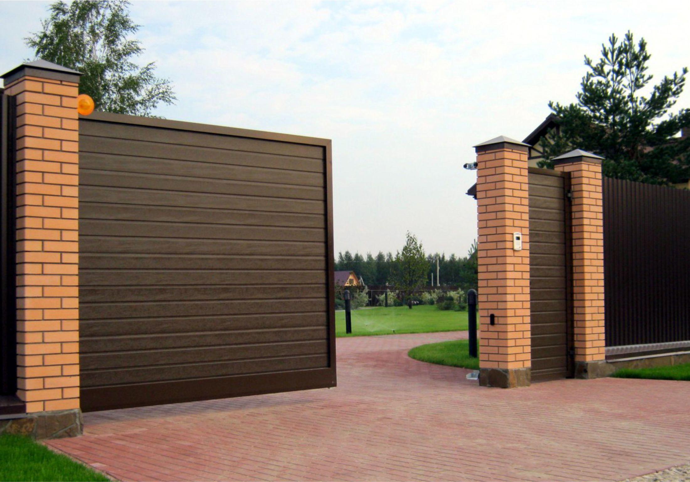 Откатные въездные ворота автоматические двухсторонний профнастил для забора